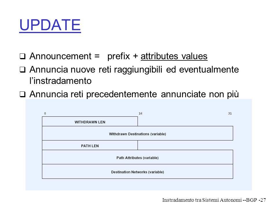 Instradamento tra Sistemi Autonomi --BGP-27 UPDATE  Announcement = prefix + attributes values  Annuncia nuove reti raggiungibili ed eventualmente l'