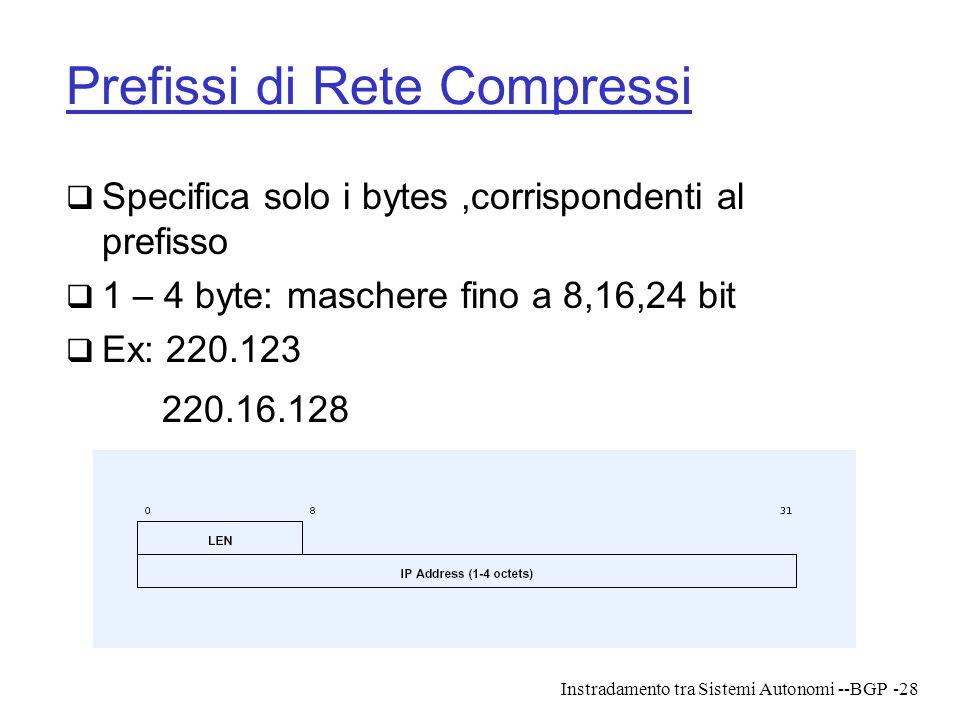 Instradamento tra Sistemi Autonomi --BGP-28 Prefissi di Rete Compressi  Specifica solo i bytes,corrispondenti al prefisso  1 – 4 byte: maschere fino