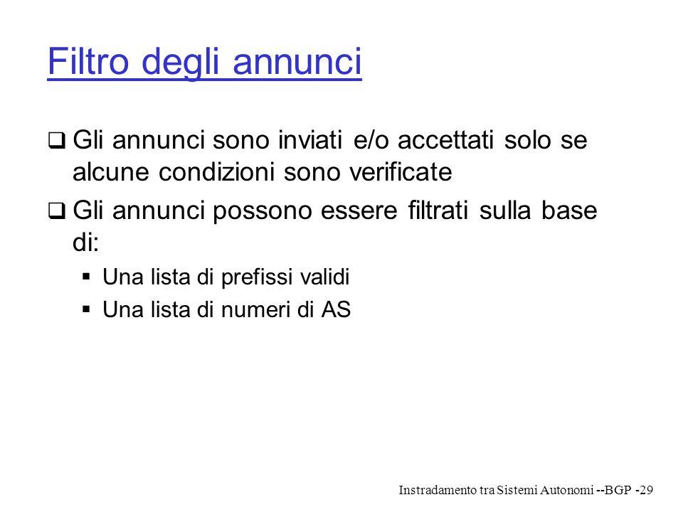 Instradamento tra Sistemi Autonomi --BGP-29 Filtro degli annunci  Gli annunci sono inviati e/o accettati solo se alcune condizioni sono verificate 