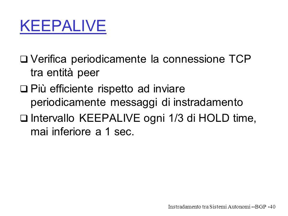 Instradamento tra Sistemi Autonomi --BGP-40 KEEPALIVE  Verifica periodicamente la connessione TCP tra entità peer  Più efficiente rispetto ad inviar