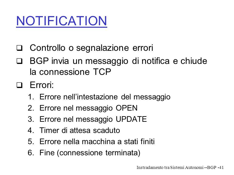 Instradamento tra Sistemi Autonomi --BGP-41 NOTIFICATION  Controllo o segnalazione errori  BGP invia un messaggio di notifica e chiude la connession