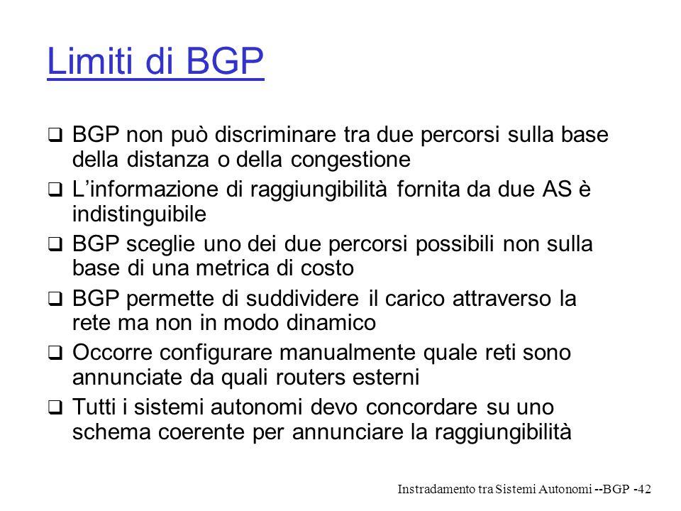 Instradamento tra Sistemi Autonomi --BGP-42 Limiti di BGP  BGP non può discriminare tra due percorsi sulla base della distanza o della congestione 