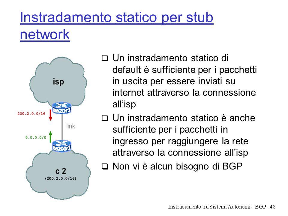 Instradamento tra Sistemi Autonomi --BGP-48 Instradamento statico per stub network  Un instradamento statico di default è sufficiente per i pacchetti