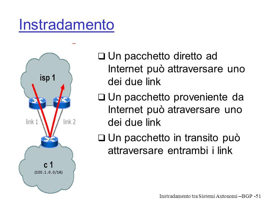 Instradamento tra Sistemi Autonomi --BGP-51 Instradamento  Un pacchetto diretto ad Internet può attraversare uno dei due link  Un pacchetto provenie