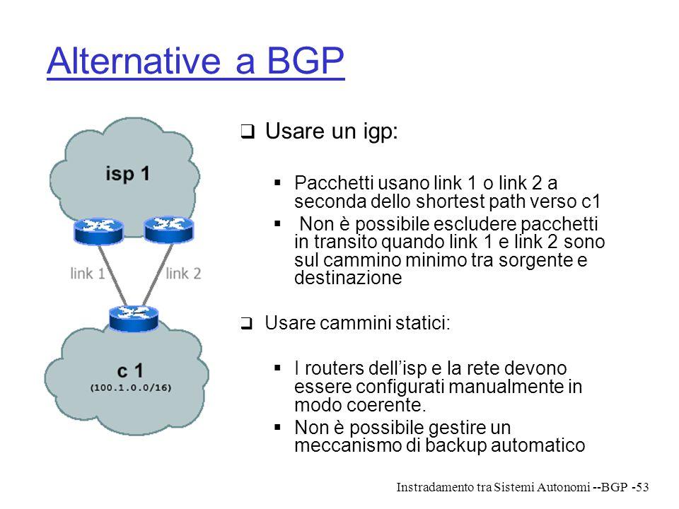 Instradamento tra Sistemi Autonomi --BGP-53 Alternative a BGP  Usare un igp:  Pacchetti usano link 1 o link 2 a seconda dello shortest path verso c1