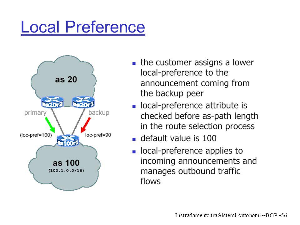 Instradamento tra Sistemi Autonomi --BGP-56 Local Preference