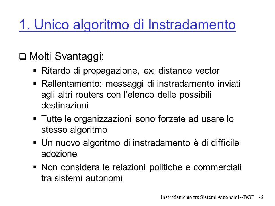 Instradamento tra Sistemi Autonomi --BGP-77 A real life ToR problem instance
