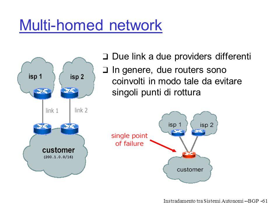 Instradamento tra Sistemi Autonomi --BGP-61 Multi-homed network  Due link a due providers differenti  In genere, due routers sono coinvolti in modo