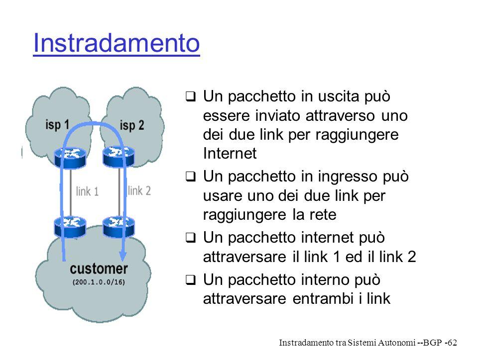Instradamento tra Sistemi Autonomi --BGP-62 Instradamento  Un pacchetto in uscita può essere inviato attraverso uno dei due link per raggiungere Inte
