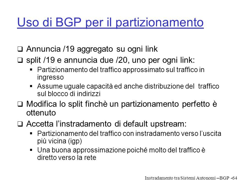 Instradamento tra Sistemi Autonomi --BGP-64 Uso di BGP per il partizionamento  Annuncia /19 aggregato su ogni link  split /19 e annuncia due /20, un