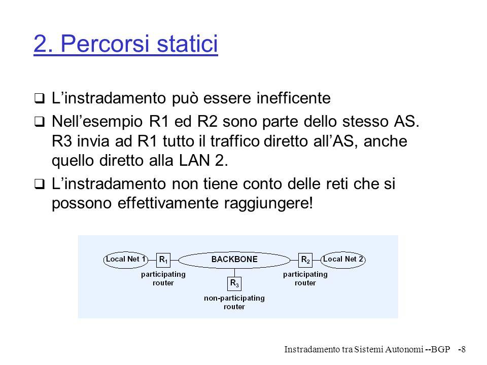 Instradamento tra Sistemi Autonomi --BGP-8 2. Percorsi statici  L'instradamento può essere inefficente  Nell'esempio R1 ed R2 sono parte dello stess