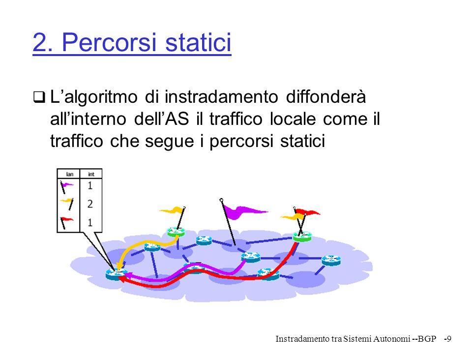 Instradamento tra Sistemi Autonomi --BGP-30 Path attributes  BGP specifica più di un salto successivo verso la destinazione  Gli attributi possono indicare:  Sistemi autonomi attraversati verso la destinazione  Provenienza delle informazioni sull'instradamento: locali (igp) o apprese da altri sistemi autonomi (egp)  Attributi sono comuni a tutte le destinazioni annunciate  Destinazioni con attributi diversi devono essere annunciate con messaggi diversi  Permette di individuare cicli sugli instradamenti e provenienza dei messaggi