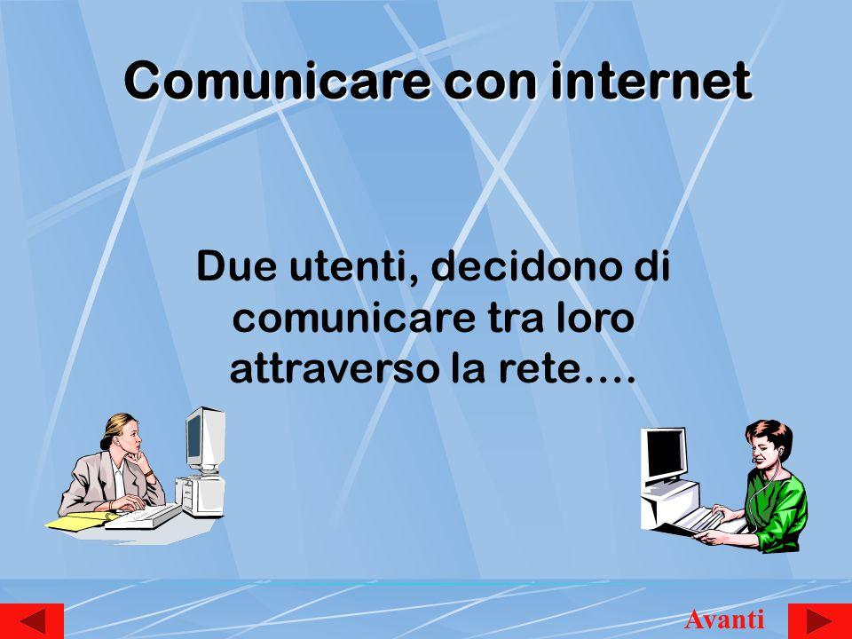 Comunicare con internet Due utenti, decidono di comunicare tra loro attraverso la rete…. Avanti