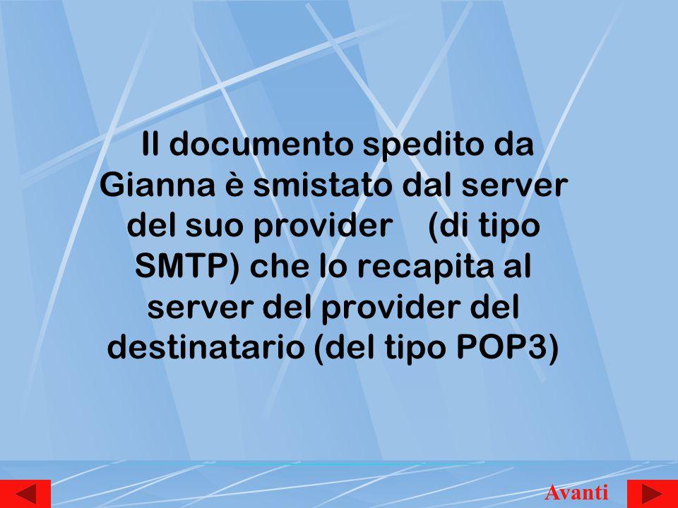 Il documento spedito da Gianna è smistato dal server del suo provider (di tipo SMTP) che lo recapita al server del provider del destinatario (del tipo POP3) Avanti