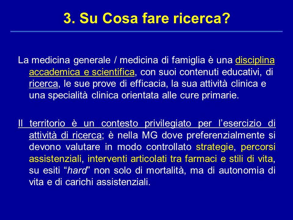 La medicina generale / medicina di famiglia è una disciplina accademica e scientifica, con suoi contenuti educativi, di ricerca, le sue prove di efficacia, la sua attività clinica e una specialità clinica orientata alle cure primarie.