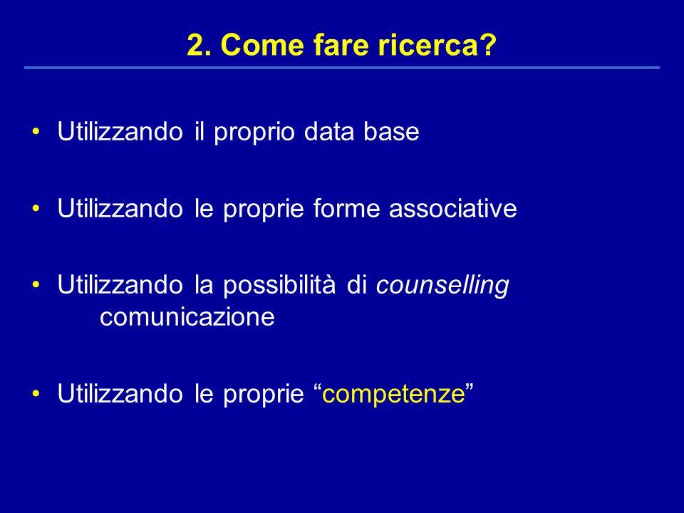 Utilizzando il proprio data base Utilizzando le proprie forme associative Utilizzando la possibilità di counselling comunicazione Utilizzando le proprie competenze 2.