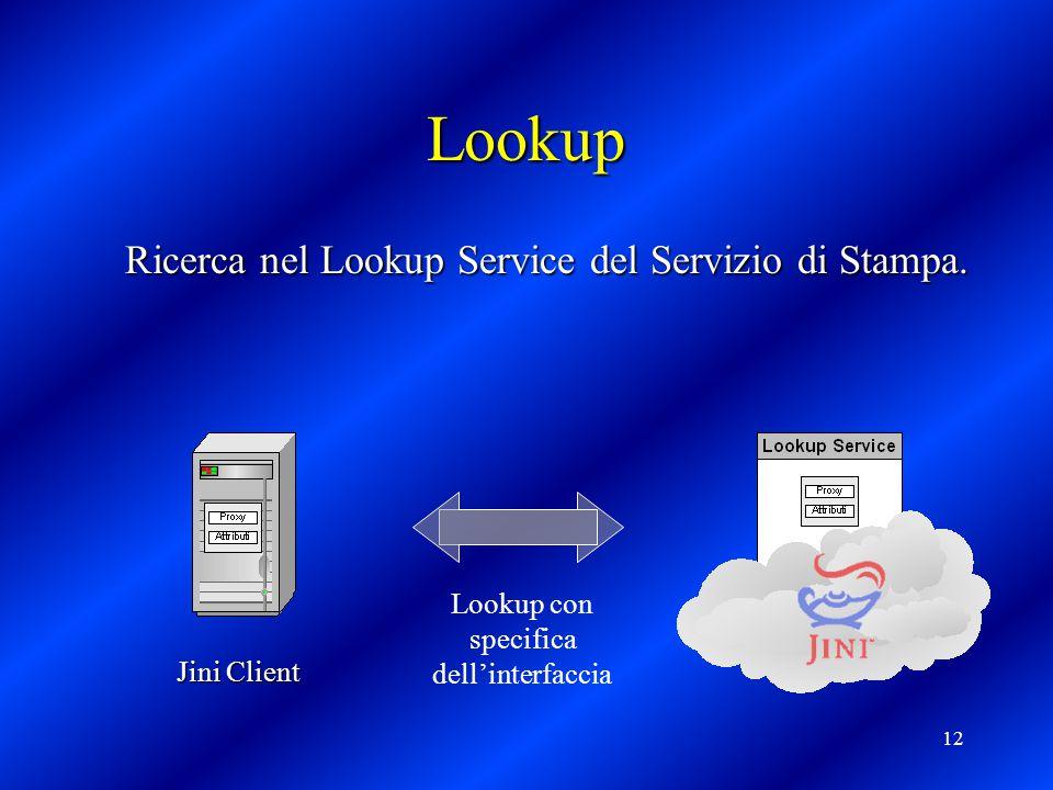 12 Lookup Ricerca nel Lookup Service del Servizio di Stampa.