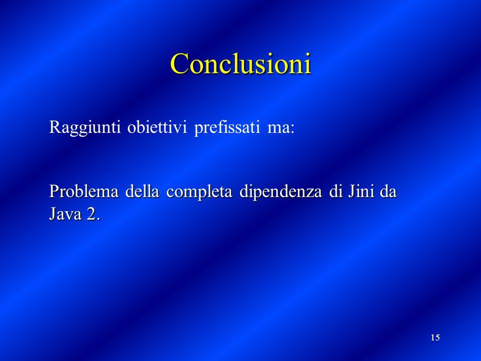 15 Conclusioni Raggiunti obiettivi prefissati ma: Problema della completa dipendenza di Jini da Java 2.
