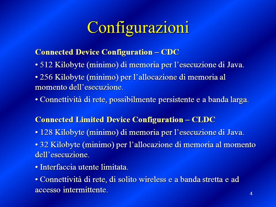 4 Configurazioni Connected Device Configuration – CDC 512 Kilobyte (minimo) di memoria per l'esecuzione di Java. 512 Kilobyte (minimo) di memoria per