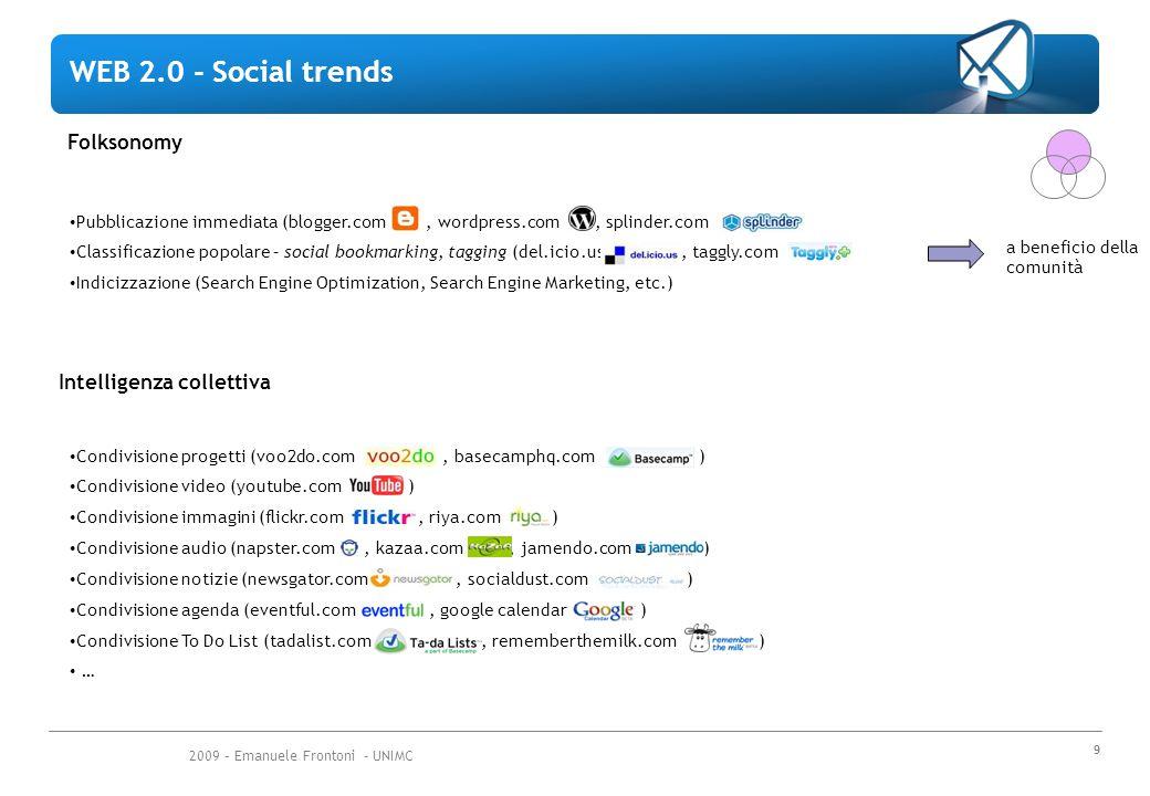 2009 – Emanuele Frontoni - UNIMC 10 Long Tail Su internet anche le community di nicchia sono molto larghe (Amazon insegna) Successo dei web services Non c'è più la necessità di possedere l'interfaccia utente.
