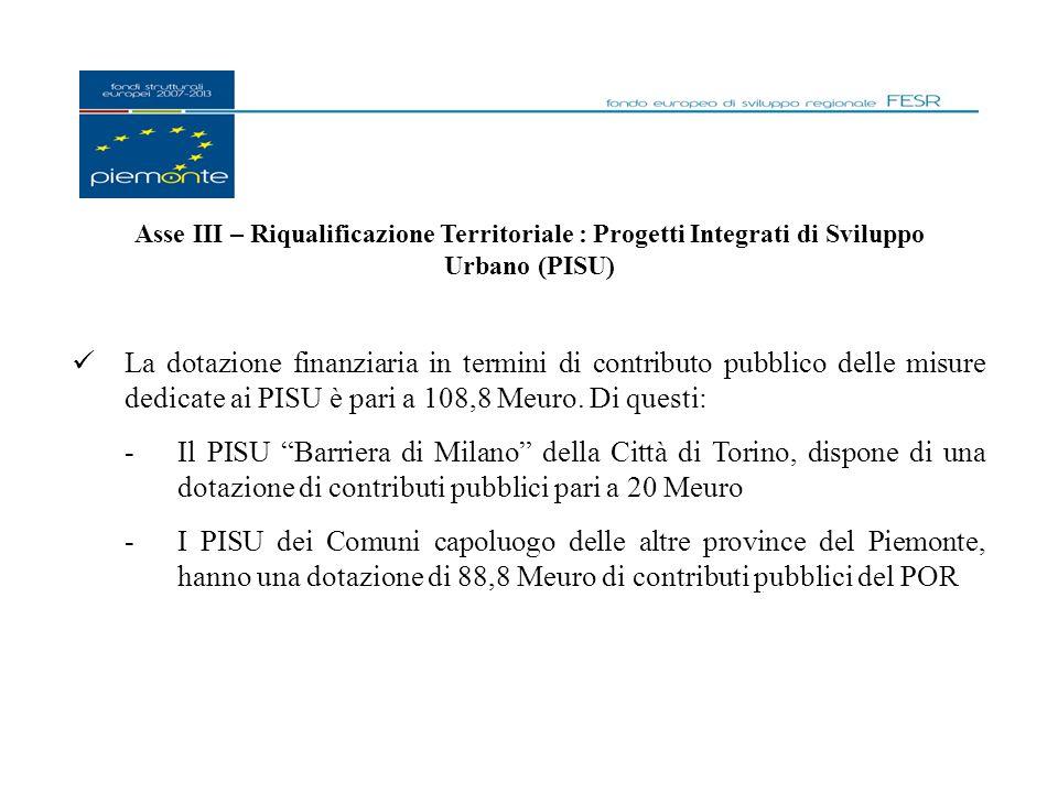 Asse III – Riqualificazione Territoriale : Progetti Integrati di Sviluppo Urbano (PISU) La dotazione finanziaria in termini di contributo pubblico delle misure dedicate ai PISU è pari a 108,8 Meuro.