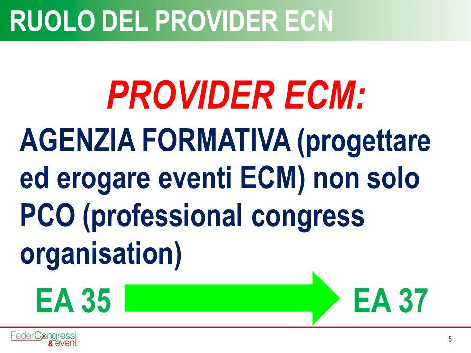 5 RUOLO DEL PROVIDER ECN AGENZIA FORMATIVA (progettare ed erogare eventi ECM) non solo PCO (professional congress organisation) EA 35 EA 37 PROVIDER E