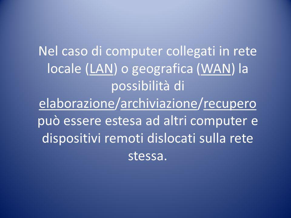 Nel caso di computer collegati in rete locale (LAN) o geografica (WAN) la possibilità di elaborazione/archiviazione/recupero può essere estesa ad altr