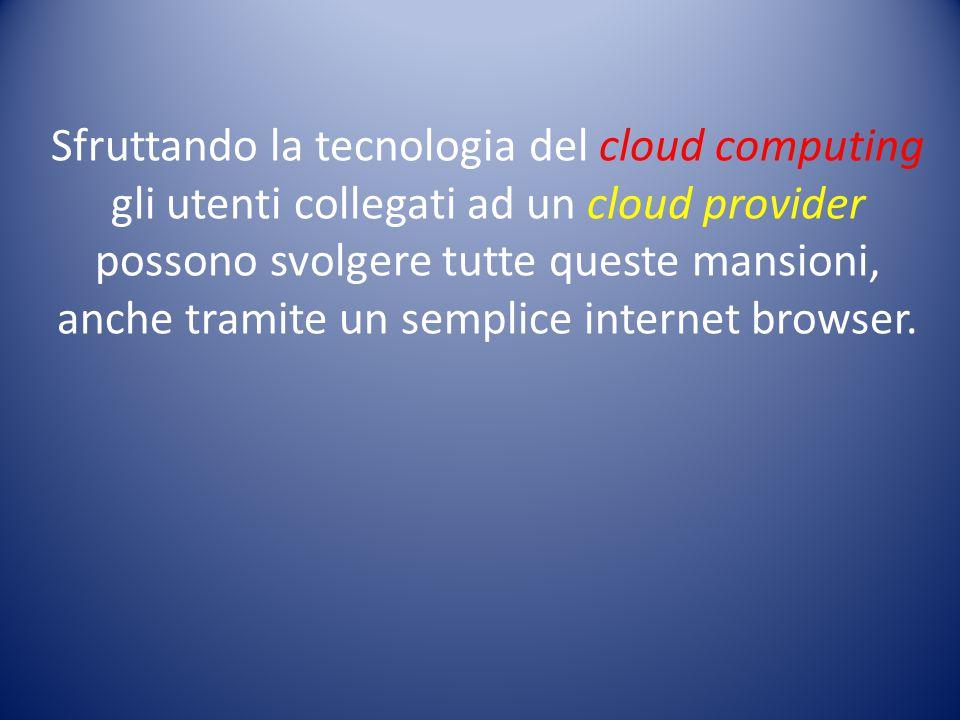 Sfruttando la tecnologia del cloud computing gli utenti collegati ad un cloud provider possono svolgere tutte queste mansioni, anche tramite un sempli