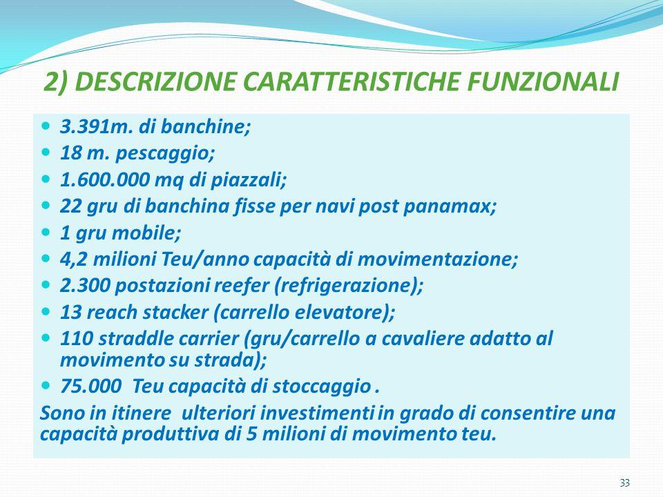 2) DESCRIZIONE CARATTERISTICHE FUNZIONALI 3.391m. di banchine; 18 m. pescaggio; 1.600.000 mq di piazzali; 22 gru di banchina fisse per navi post panam