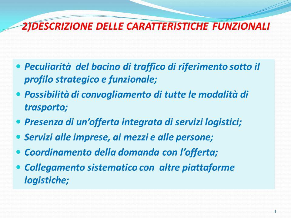 2)DESCRIZIONE DELLE CARATTERISTICHE FUNZIONALI Peculiarità del bacino di traffico di riferimento sotto il profilo strategico e funzionale; Possibilità di convogliamento di tutte le modalità di trasporto; Presenza di un'offerta integrata di servizi logistici; Servizi alle imprese, ai mezzi e alle persone; Coordinamento della domanda con l'offerta; Collegamento sistematico con altre piattaforme logistiche; 4