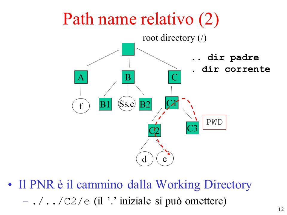 12 ABC f B1B2 Ss.c C1 C2 e d root directory (/) C3 Path name relativo (2) Il PNR è il cammino dalla Working Directory –./../C2/e (il '.' iniziale si può omettere) PWD..