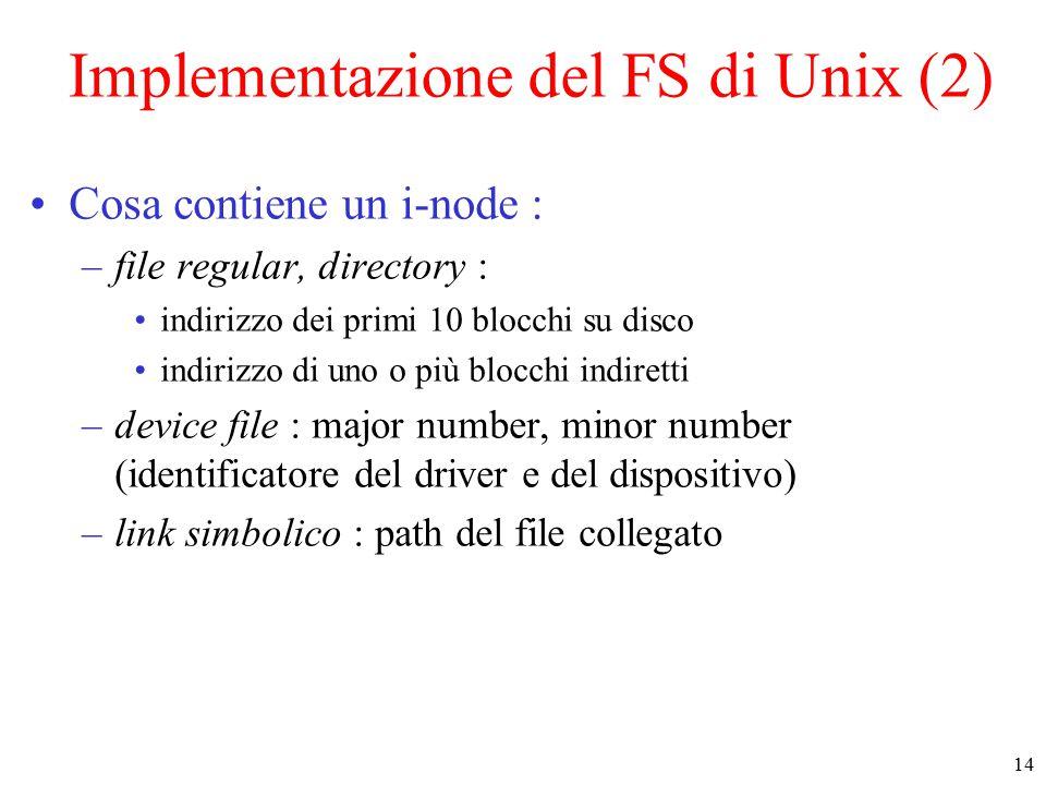 14 Implementazione del FS di Unix (2) Cosa contiene un i-node : –file regular, directory : indirizzo dei primi 10 blocchi su disco indirizzo di uno o