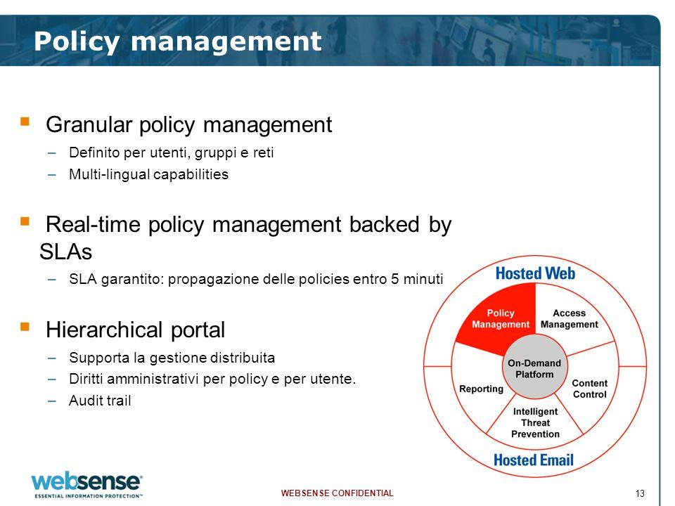 WEBSENSE CONFIDENTIAL 13  Granular policy management –Definito per utenti, gruppi e reti –Multi-lingual capabilities  Real-time policy management ba