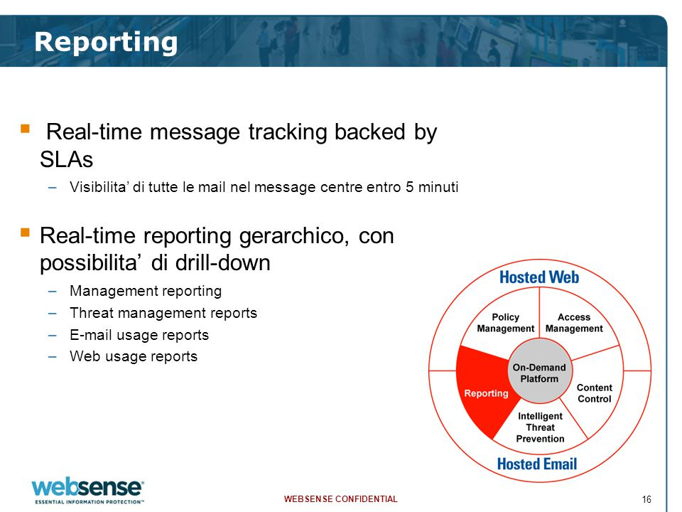 WEBSENSE CONFIDENTIAL 16  Real-time message tracking backed by SLAs –Visibilita' di tutte le mail nel message centre entro 5 minuti  Real-time repor
