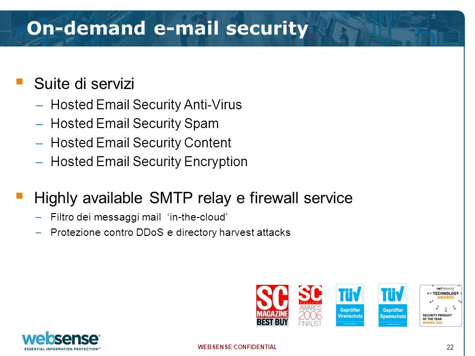 WEBSENSE CONFIDENTIAL 22 On-demand e-mail security  Suite di servizi –Hosted Email Security Anti-Virus –Hosted Email Security Spam –Hosted Email Secu