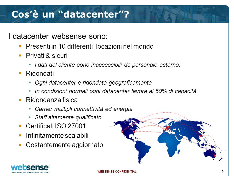 WEBSENSE CONFIDENTIAL 99 Cos'è un datacenter .