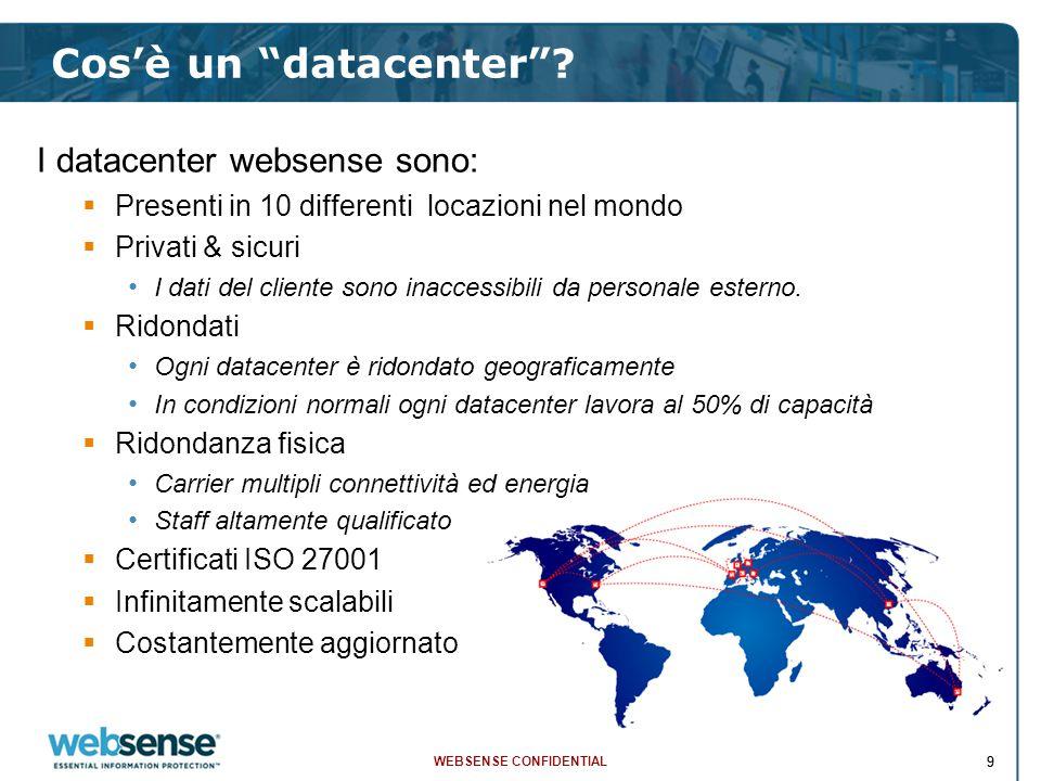 """WEBSENSE CONFIDENTIAL 99 Cos'è un """"datacenter""""? I datacenter websense sono:  Presenti in 10 differenti locazioni nel mondo  Privati & sicuri I dati"""