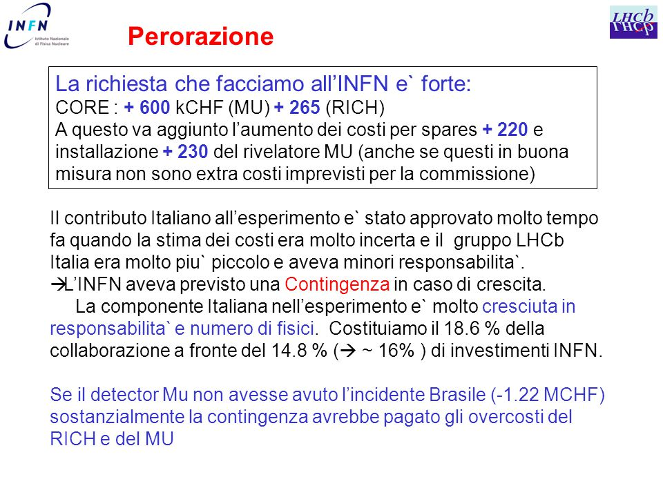 Perorazione La richiesta che facciamo all'INFN e` forte: CORE : + 600 kCHF (MU) + 265 (RICH) A questo va aggiunto l'aumento dei costi per spares + 220 e installazione + 230 del rivelatore MU (anche se questi in buona misura non sono extra costi imprevisti per la commissione) Il contributo Italiano all'esperimento e` stato approvato molto tempo fa quando la stima dei costi era molto incerta e il gruppo LHCb Italia era molto piu` piccolo e aveva minori responsabilita`.