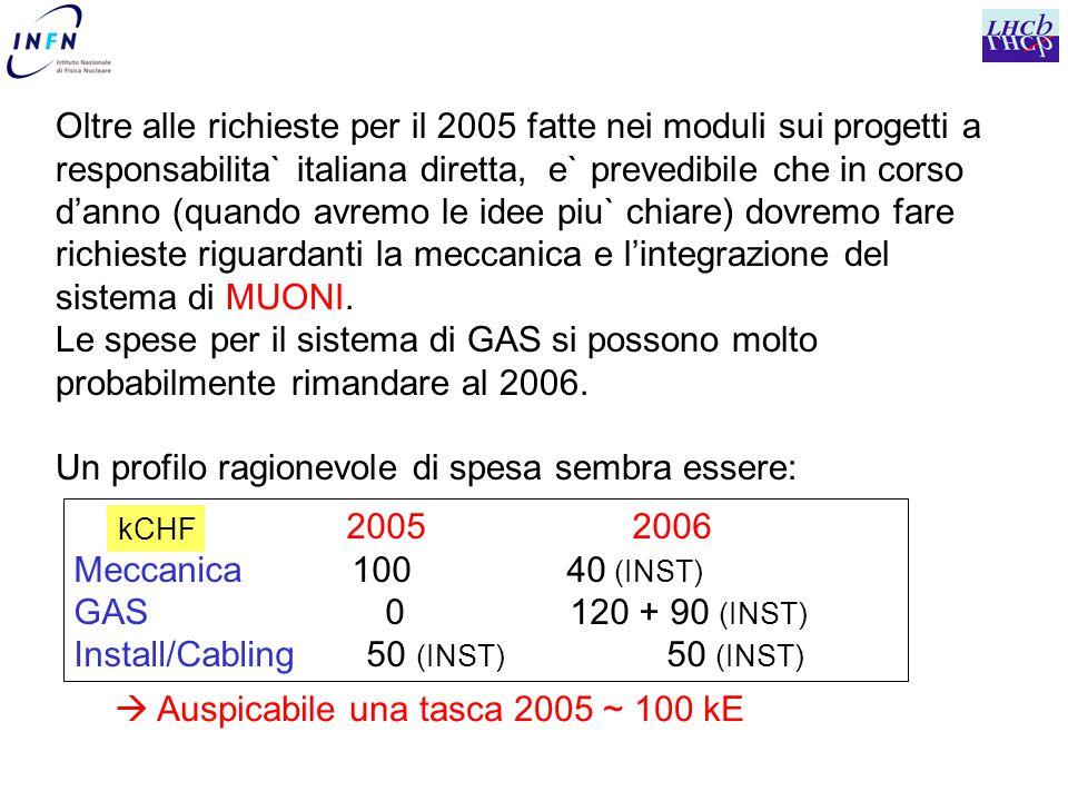 Oltre alle richieste per il 2005 fatte nei moduli sui progetti a responsabilita` italiana diretta, e` prevedibile che in corso d'anno (quando avremo le idee piu` chiare) dovremo fare richieste riguardanti la meccanica e l'integrazione del sistema di MUONI.