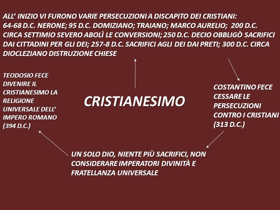CRISTIANESIMO UN SOLO DIO, NIENTE PIÙ SACRIFICI, NON CONSIDERARE IMPERATORI DIVINITÀ E FRATELLANZA UNIVERSALE COSTANTINO FECE CESSARE LE PERSECUZIONI