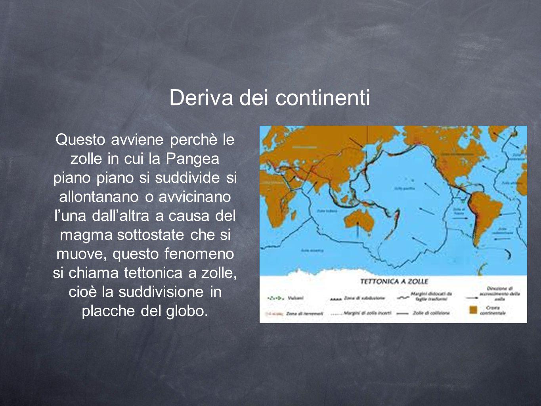 Deriva dei continenti Questo avviene perchè le zolle in cui la Pangea piano piano si suddivide si allontanano o avvicinano l'una dall'altra a causa del magma sottostate che si muove, questo fenomeno si chiama tettonica a zolle, cioè la suddivisione in placche del globo.