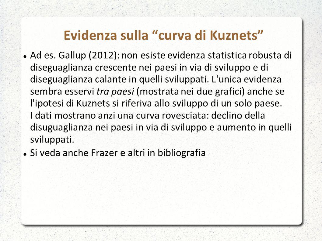 Ad es. Gallup (2012): non esiste evidenza statistica robusta di diseguaglianza crescente nei paesi in via di sviluppo e di diseguaglianza calante in q