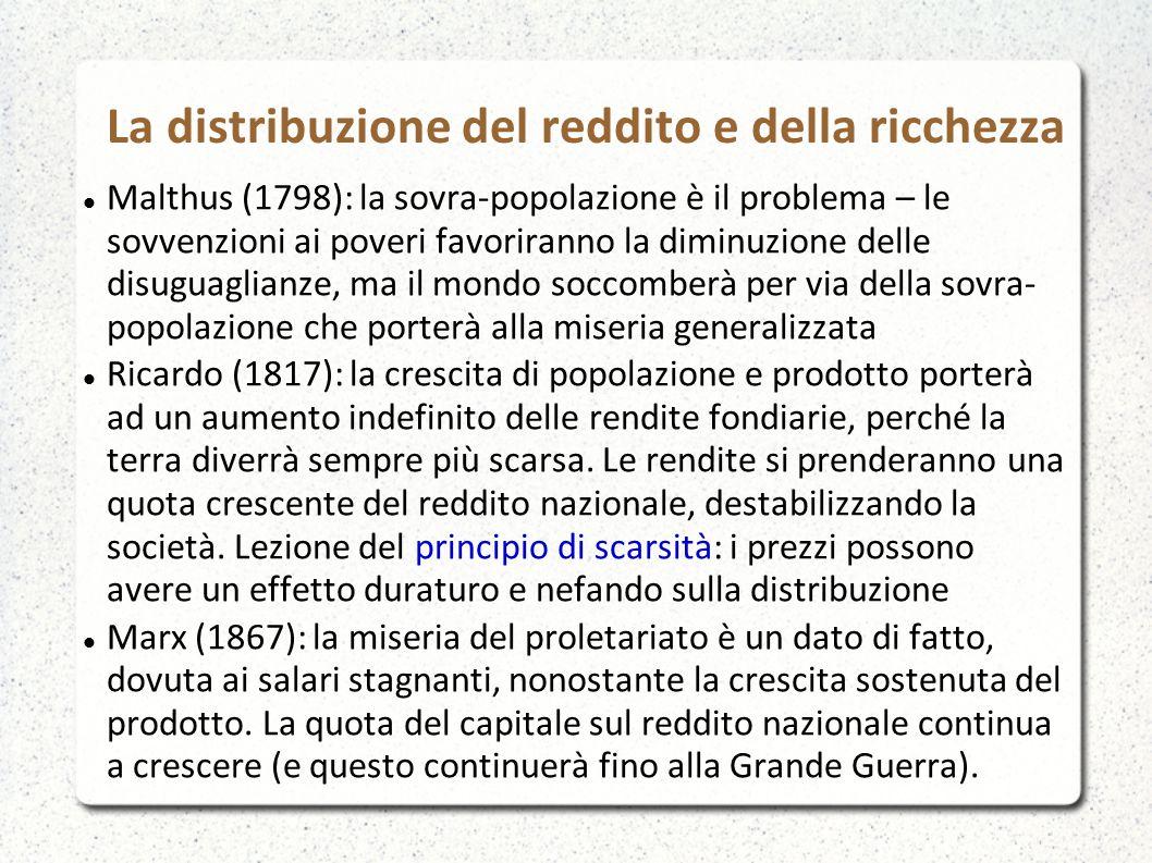 La distribuzione del reddito e della ricchezza Malthus (1798): la sovra-popolazione è il problema – le sovvenzioni ai poveri favoriranno la diminuzion