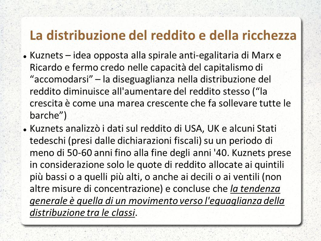 La distribuzione del reddito e della ricchezza Kuznets – idea opposta alla spirale anti-egalitaria di Marx e Ricardo e fermo credo nelle capacità del