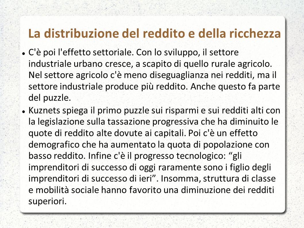 La distribuzione del reddito e della ricchezza C'è poi l'effetto settoriale. Con lo sviluppo, il settore industriale urbano cresce, a scapito di quell