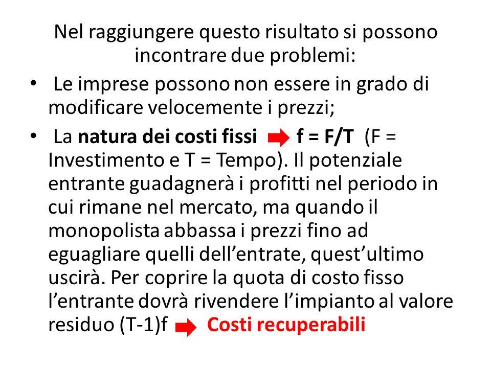Nel raggiungere questo risultato si possono incontrare due problemi: Le imprese possono non essere in grado di modificare velocemente i prezzi; La natura dei costi fissi f = F/T (F = Investimento e T = Tempo).