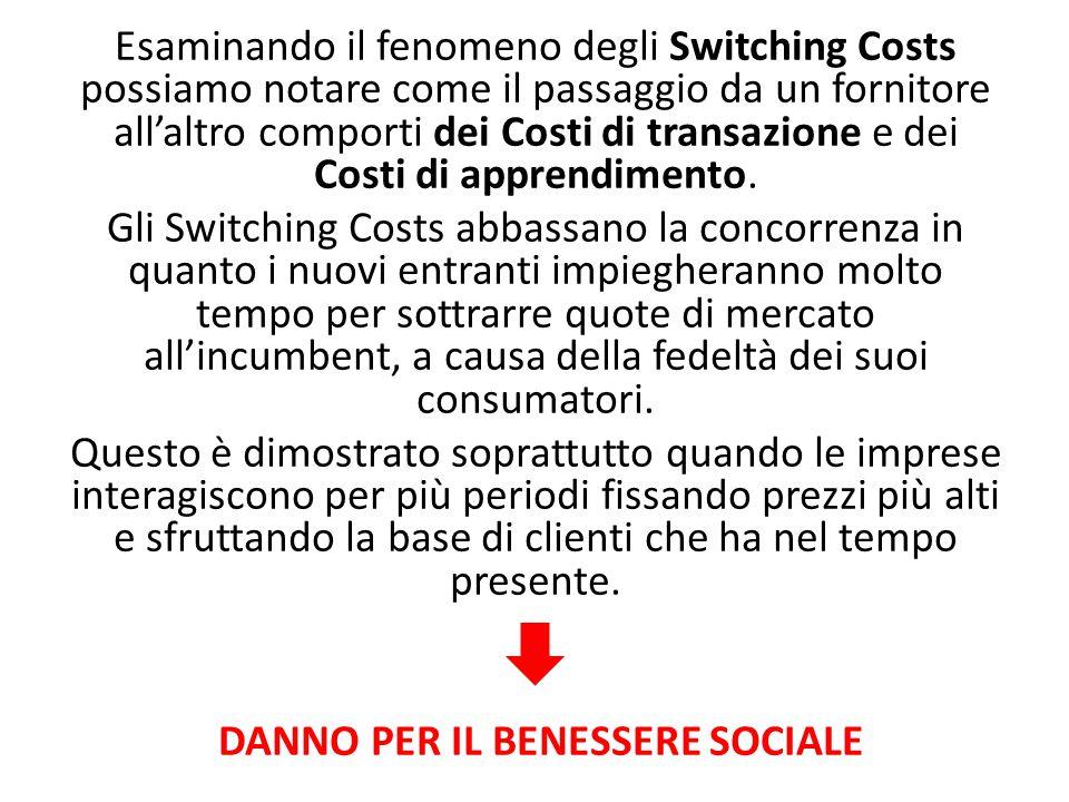 Esaminando il fenomeno degli Switching Costs possiamo notare come il passaggio da un fornitore all'altro comporti dei Costi di transazione e dei Costi di apprendimento.