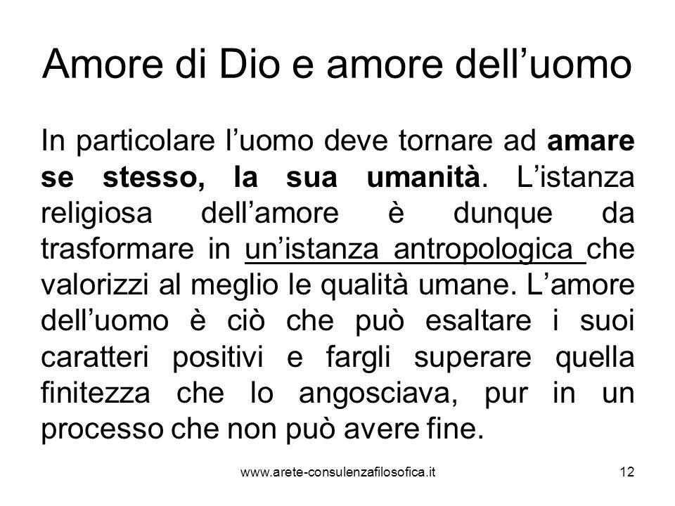Amore di Dio e amore dell'uomo In particolare l'uomo deve tornare ad amare se stesso, la sua umanità. L'istanza religiosa dell'amore è dunque da trasf