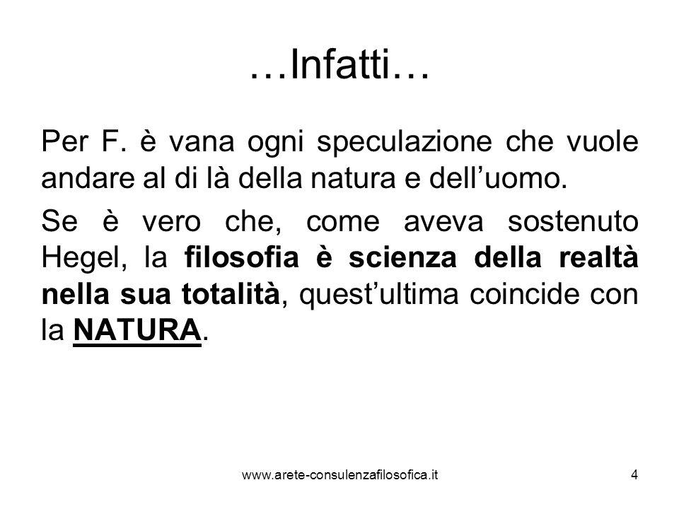 …Infatti… Per F. è vana ogni speculazione che vuole andare al di là della natura e dell'uomo. Se è vero che, come aveva sostenuto Hegel, la filosofia