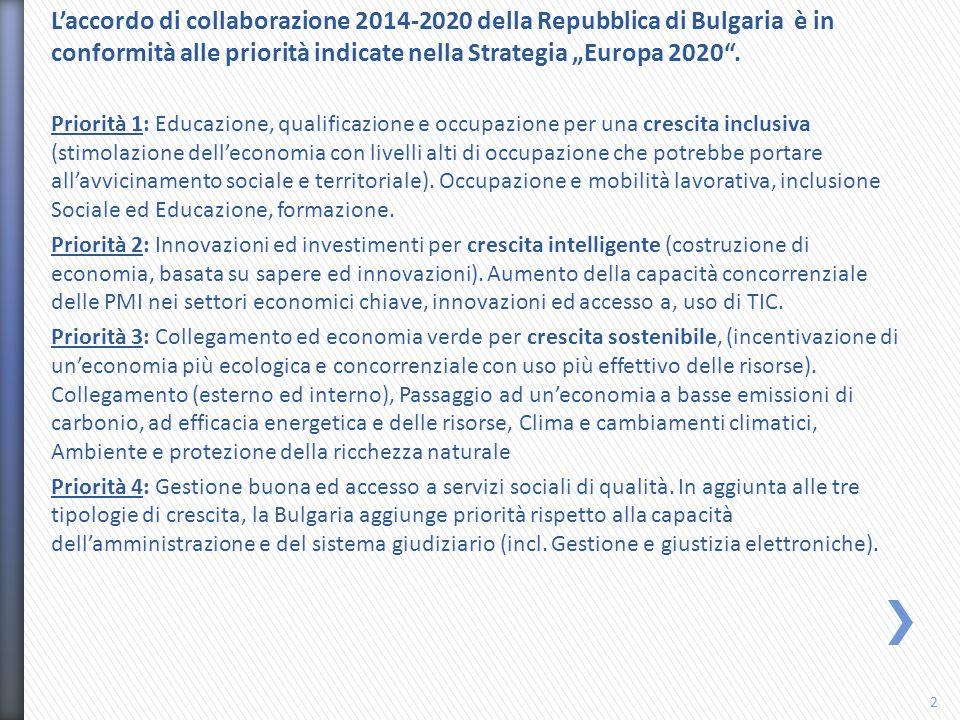 """L'accordo di collaborazione 2014-2020 della Repubblica di Bulgaria è in conformità alle priorità indicate nella Strategia """"Europa 2020 ."""